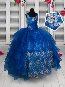 Ruffled Ball Gowns Kids Pageant Dress Royal Blue Scoop Organza and Lace Sleeveless Floor Length Lace Up