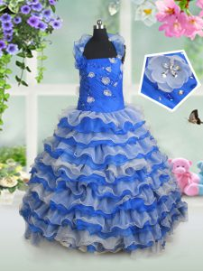 Admirable Halter Top Blue And White Ball Gowns Beading and Appliques and Ruffled Layers Child Pageant Dress Lace Up Orga