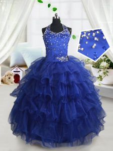 Halter Top Ruffled Floor Length Ball Gowns Sleeveless Royal Blue Kids Pageant Dress Lace Up