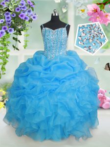 Beading and Ruffles and Pick Ups Little Girls Pageant Dress Baby Blue Lace Up Sleeveless Floor Length