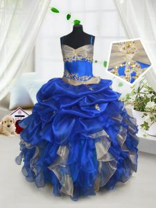 Floor Length Blue and Champagne Pageant Dress for Teens Organza Sleeveless Beading and Ruffles and Pick Ups