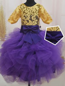 Stylish Eggplant Purple and Gold Scoop Zipper Lace and Ruffles and Bowknot Pageant Dress Short Sleeves