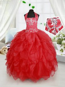 Halter Top Sleeveless Floor Length Beading and Ruffles Lace Up Little Girls Pageant Dress with Red