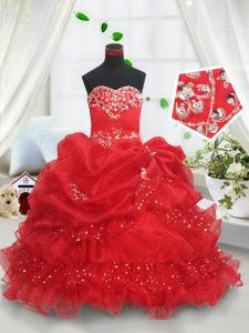 On Sale Floor Length Red Little Girl Pageant Gowns Organza Sleeveless Beading and Ruffled Layers and Sequins and Pick Up