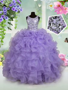 Lavender Little Girls Pageant Dress Wholesale Quinceanera and Wedding Party and For with Beading and Ruffles Scoop Sleev