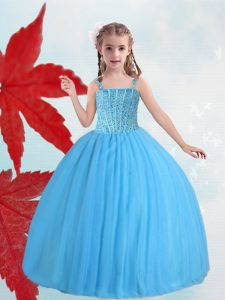 Modern Straps Sleeveless Taffeta and Tulle Little Girl Pageant Gowns Beading Lace Up