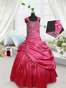 Straps Pick Ups Hot Pink Sleeveless Taffeta Lace Up High School Pageant Dress for Quinceanera and Wedding Party