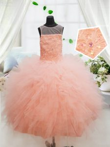 Charming Scoop Peach Sleeveless Beading and Lace and Ruffles Floor Length Custom Made Pageant Dress