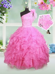 Rose Pink Lace Up One Shoulder Beading and Ruffles and Hand Made Flower Pageant Dress for Teens Organza Sleeveless