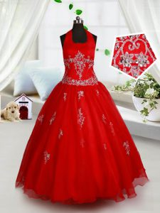 Hot Sale Ball Gowns Pageant Dress for Girls Red Halter Top Organza Sleeveless Floor Length Lace Up