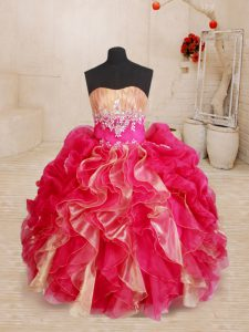 Wonderful Floor Length Red Girls Pageant Dresses Sweetheart Sleeveless Lace Up