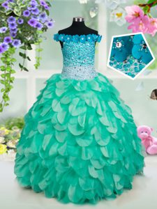 Custom Design Floor Length Turquoise Little Girls Pageant Dress Off The Shoulder Sleeveless Lace Up