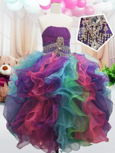 Customized Sleeveless Organza Floor Length Zipper Kids Pageant Dress in Multi-color with Beading and Ruffles