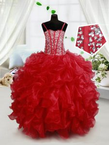 Cute Red Organza Lace Up Spaghetti Straps Sleeveless Floor Length Pageant Dress Toddler Beading and Ruffles