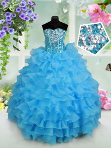 High Quality Baby Blue Strapless Neckline Beading and Ruffled Layers and Sequins Kids Pageant Dress Sleeveless Lace Up