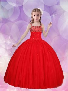 Straps Floor Length Lace Up Kids Pageant Dress Red for Quinceanera and Wedding Party with Beading