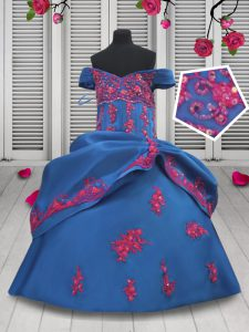 Luxurious Off the Shoulder Pick Ups Floor Length Ball Gowns Sleeveless Blue Winning Pageant Gowns Lace Up