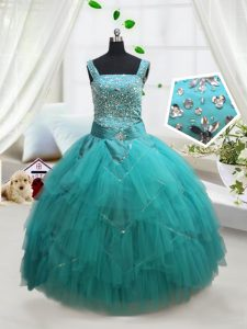 Turquoise Square Neckline Beading and Ruffles and Belt Little Girl Pageant Gowns Sleeveless Lace Up