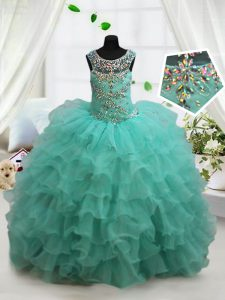 Scoop Floor Length Lace Up Kids Formal Wear Turquoise for Quinceanera and Wedding Party with Beading and Ruffled Layers