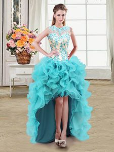 Shining Scoop See Through Aqua Blue Sleeveless Beading High Low Homecoming Dress