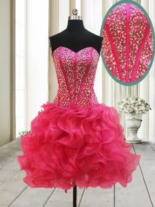 Popular Sleeveless Organza Mini Length Lace Up Homecoming Dress in Hot Pink with Beading