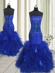 Mermaid Royal Blue Sleeveless Beading and Ruffles Floor Length Prom Gown