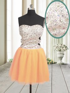 Romantic Orange Zipper Sweetheart Beading and Sequins Homecoming Dress Tulle Sleeveless