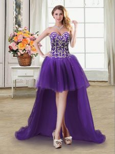 Suitable Purple Sleeveless High Low Beading and Sequins Lace Up Prom Party Dress