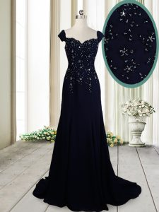 Straps Cap Sleeves Beading Zipper Prom Party Dress with Navy Blue Brush Train