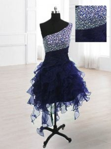 Cute One Shoulder Navy Blue Organza Lace Up Sleeveless Knee Length Beading