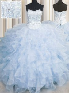 Light Blue Quince Ball Gowns Military Ball and Sweet 16 and Quinceanera and For with Ruffles Scalloped Sleeveless Lace U