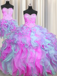 Clearance Three Piece Ball Gowns Sleeveless Multi-color Vestidos de Quinceanera Lace Up
