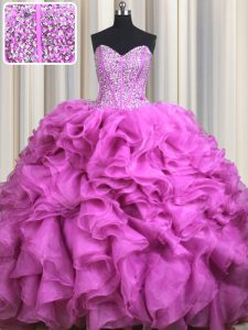 Visible Boning Brush Train Fuchsia Sweetheart Neckline Beading and Ruffles 15 Quinceanera Dress Sleeveless Lace Up
