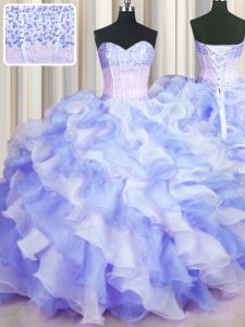 Two Tone Visible Boning Sleeveless Floor Length Beading and Ruffles Lace Up Quinceanera Gowns with Multi-color