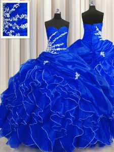 Ball Gowns 15 Quinceanera Dress Royal Blue Sweetheart Organza Sleeveless Floor Length Lace Up