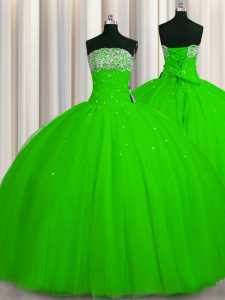 Discount Big Puffy Sleeveless Tulle Floor Length Lace Up Quince Ball Gowns in with Beading and Sequins