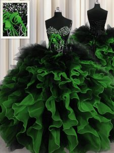 Fashion Sleeveless Beading and Ruffles Lace Up Quinceanera Gown