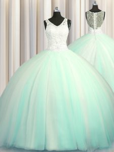 Eye-catching Big Puffy Zipper Up Apple Green Ball Gowns V-neck Sleeveless Tulle With Brush Train Zipper Beading and Appl