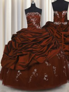 Embroidery Burgundy Sweet 16 Quinceanera Dress Military Ball and Sweet 16 and Quinceanera and For with Beading and Appli