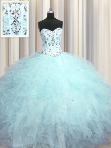Colorful Visible Boning Tulle Sweetheart Sleeveless Lace Up Beading and Appliques and Ruffles Quinceanera Dresses in Lig
