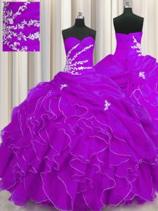 Purple Sweetheart Neckline Beading and Appliques and Ruffles Quinceanera Gown Sleeveless Lace Up