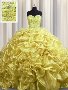 Super Court Train Gold Sleeveless With Train Beading and Pick Ups Lace Up Ball Gown Prom Dress