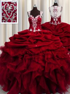 Exquisite See Through Beading and Ruffles and Sequins Quinceanera Gown Wine Red Zipper Sleeveless Floor Length