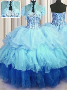 Free and Easy Visible Boning Bling-bling Sleeveless Floor Length Beading and Ruffled Layers Lace Up Quinceanera Dresses