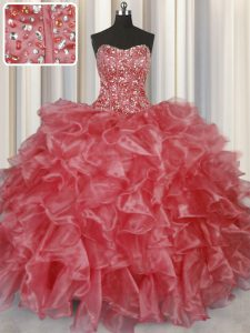 Visible Boning Coral Red Lace Up Strapless Beading and Ruffles Sweet 16 Quinceanera Dress Organza Sleeveless