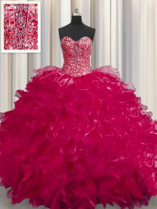 Graceful See Through Floor Length Coral Red Quinceanera Dresses Sweetheart Sleeveless Lace Up