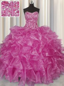 Visible Boning Fuchsia Sleeveless Organza Lace Up 15th Birthday Dress for Military Ball and Sweet 16 and Quinceanera