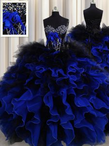 Beauteous Blue And Black Lace Up Sweetheart Beading and Ruffles Sweet 16 Dress Organza and Tulle Sleeveless