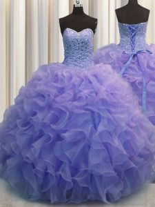 Decent Beading and Ruffles Vestidos de Quinceanera Blue Lace Up Sleeveless Floor Length