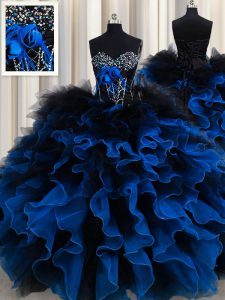 Excellent Royal Blue Ball Gowns Beading and Ruffles Sweet 16 Quinceanera Dress Lace Up Organza and Tulle Sleeveless Floo
